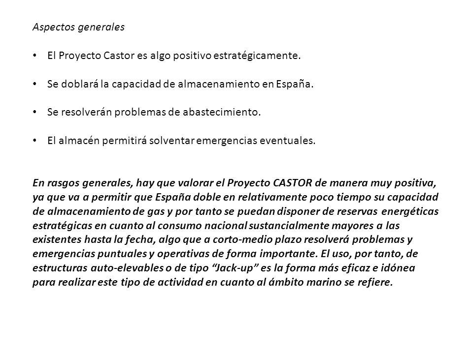 Aspectos generales El Proyecto Castor es algo positivo estratégicamente. Se doblará la capacidad de almacenamiento en España. Se resolverán problemas
