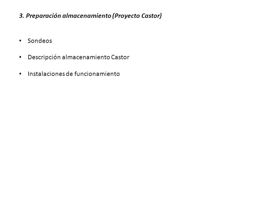 3. Preparación almacenamiento (Proyecto Castor) Sondeos Descripción almacenamiento Castor Instalaciones de funcionamiento