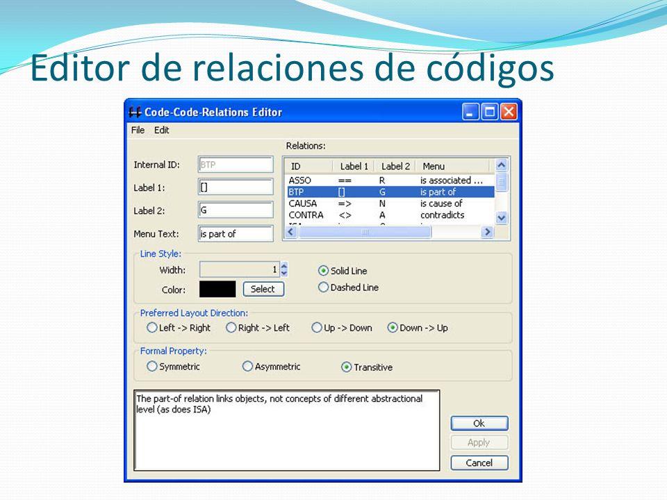 Editor de relaciones de códigos