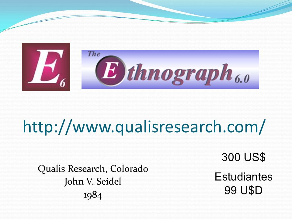 http://www.qualisresearch.com/ Qualis Research, Colorado John V. Seidel 1984 300 US$ Estudiantes 99 U$D
