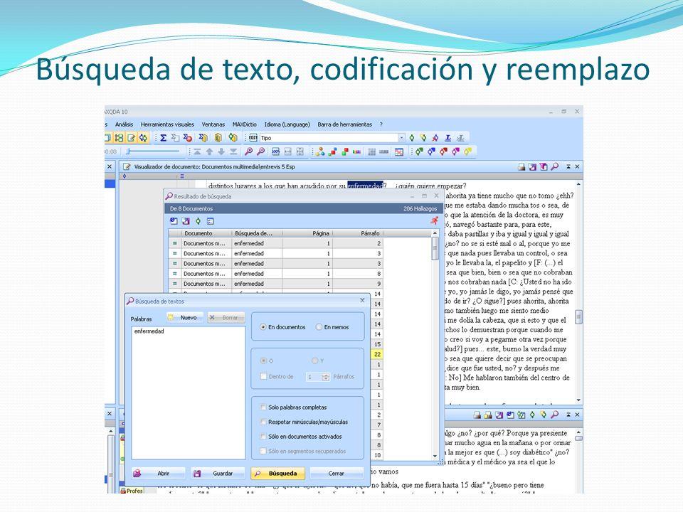 Búsqueda de texto, codificación y reemplazo