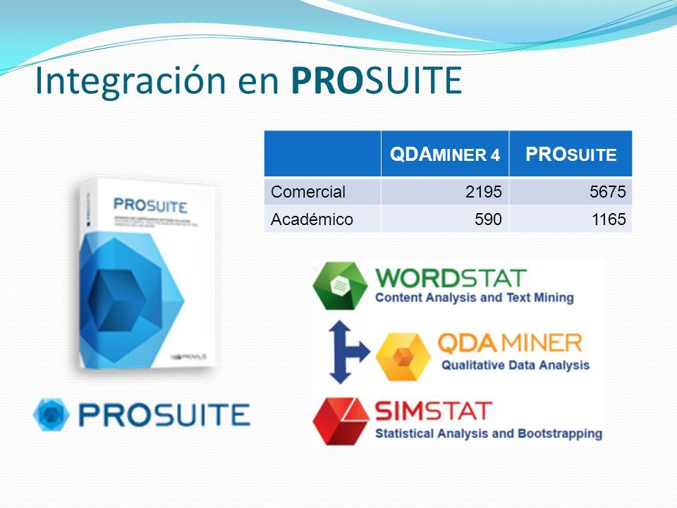 Integración en PROSUITE QDA MINER 4 PRO SUITE Comercial21955675 Académico5901165