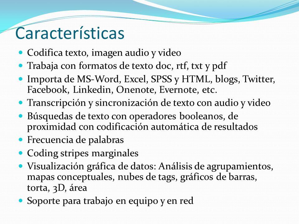 Características Codifica texto, imagen audio y video Trabaja con formatos de texto doc, rtf, txt y pdf Importa de MS-Word, Excel, SPSS y HTML, blogs,