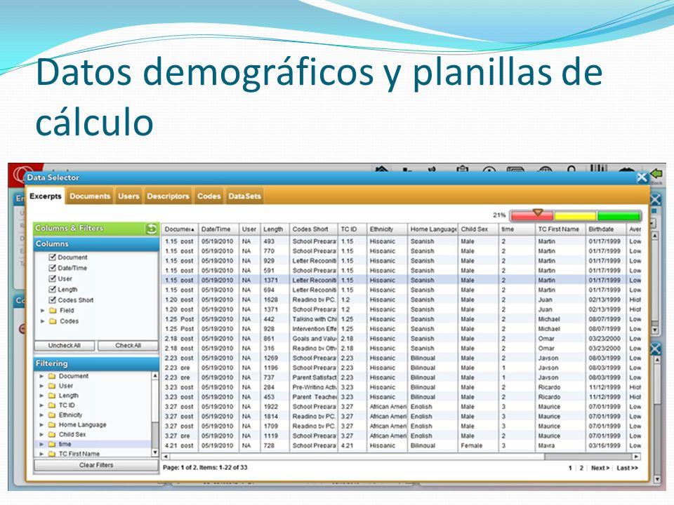 Datos demográficos y planillas de cálculo