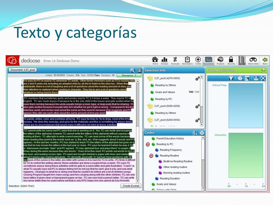 Texto y categorías