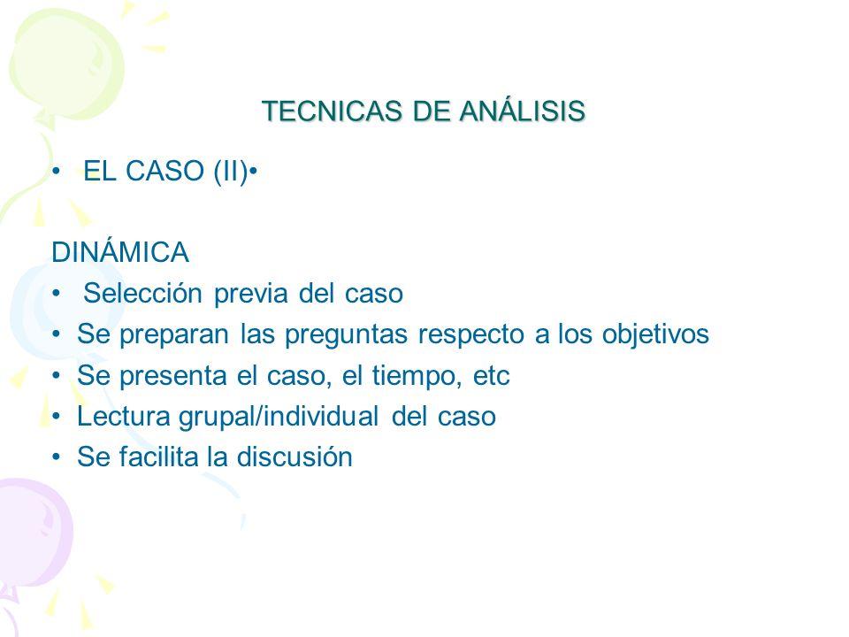 TECNICAS DE ANÁLISIS EL CASO (II) DINÁMICA Selección previa del caso Se preparan las preguntas respecto a los objetivos Se presenta el caso, el tiempo, etc Lectura grupal/individual del caso Se facilita la discusión