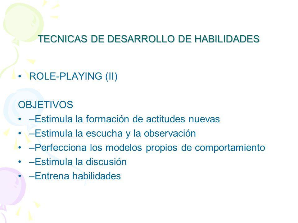 TECNICAS DE DESARROLLO DE HABILIDADES ROLE-PLAYING (II) OBJETIVOS –Estimula la formación de actitudes nuevas –Estimula la escucha y la observación –Perfecciona los modelos propios de comportamiento –Estimula la discusión –Entrena habilidades