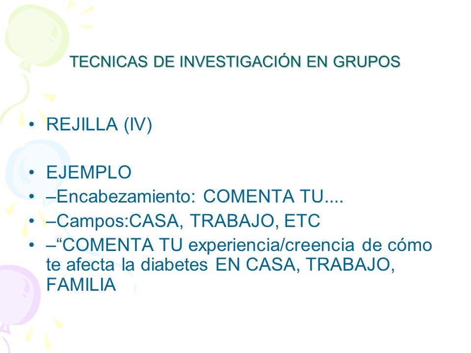 TECNICAS DE INVESTIGACIÓN EN GRUPOS REJILLA (IV) EJEMPLO –Encabezamiento: COMENTA TU....