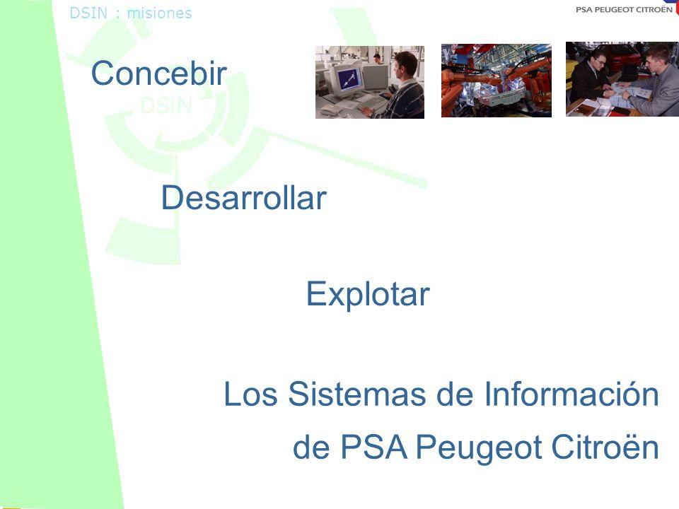 Octobre 2001 DSIN : misiones Concebir Desarrollar Explotar Los Sistemas de Información de PSA Peugeot Citroën