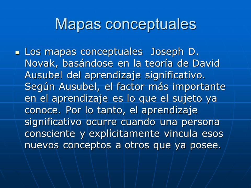 Mapas conceptuales Los mapas conceptuales Joseph D. Novak, basándose en la teoría de David Ausubel del aprendizaje significativo. Según Ausubel, el fa