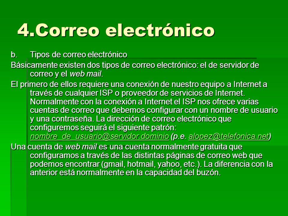 4.Correo electrónico b.Tipos de correo electrónico Básicamente existen dos tipos de correo electrónico: el de servidor de correo y el web mail. El pri