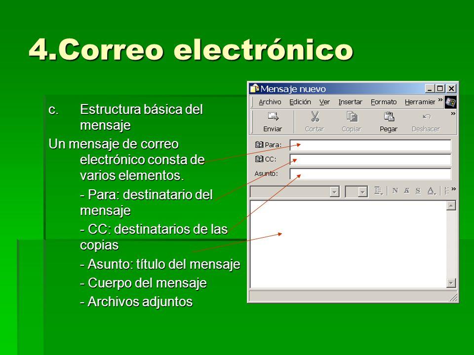 4.Correo electrónico c.Estructura básica del mensaje Un mensaje de correo electrónico consta de varios elementos. - Para: destinatario del mensaje - C