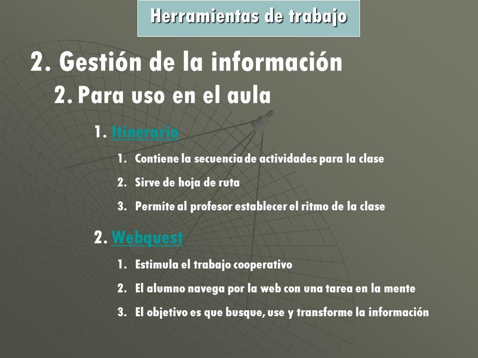 2. Gestión de la información 2.Para uso en el aula 1.IItinerario 1.Contiene la secuencia de actividades para la clase 2.Sirve de hoja de ruta 3.Permit