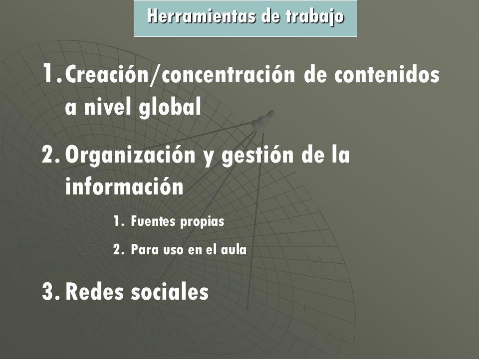 1. Creación/concentración de contenidos a nivel global 2.Organización y gestión de la información 1.Fuentes propias 2.Para uso en el aula 3.Redes soci