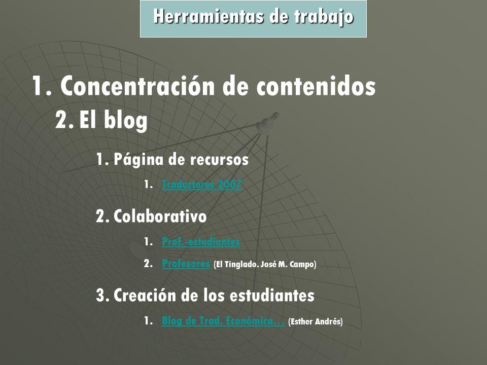 1. Concentración de contenidos 2.El blog 1.Página de recursos 1.TTraductores 2007 2.Colaborativo 1.PProf.-estudiantes 2.PProfesores (El Tinglado. José