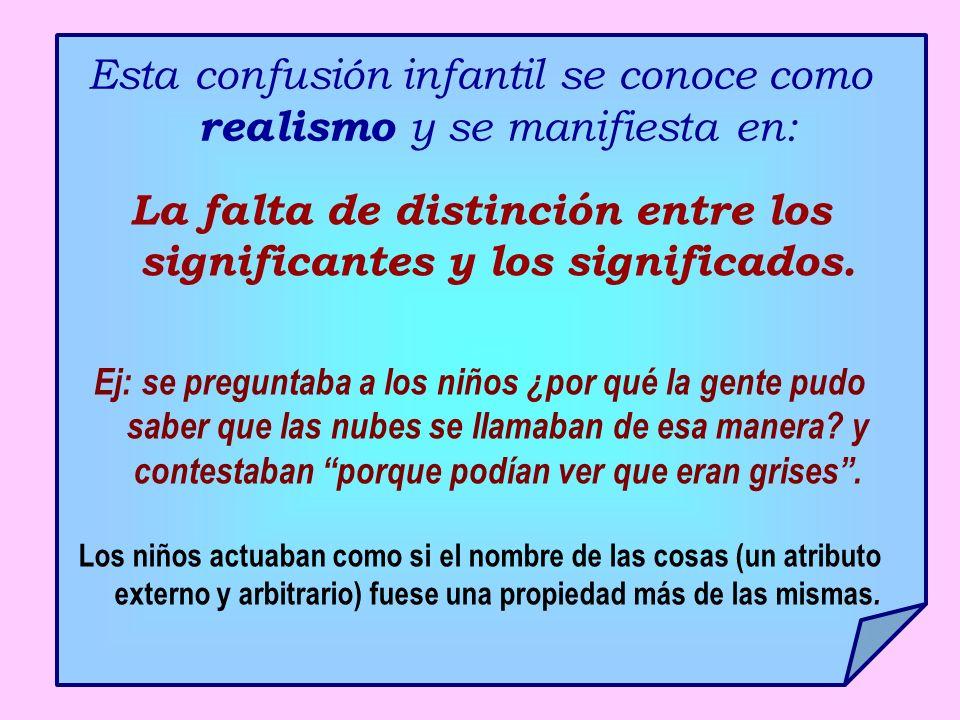 Esta confusión infantil se conoce como realismo y se manifiesta en: La falta de distinción entre los significantes y los significados. Ej: se pregunta