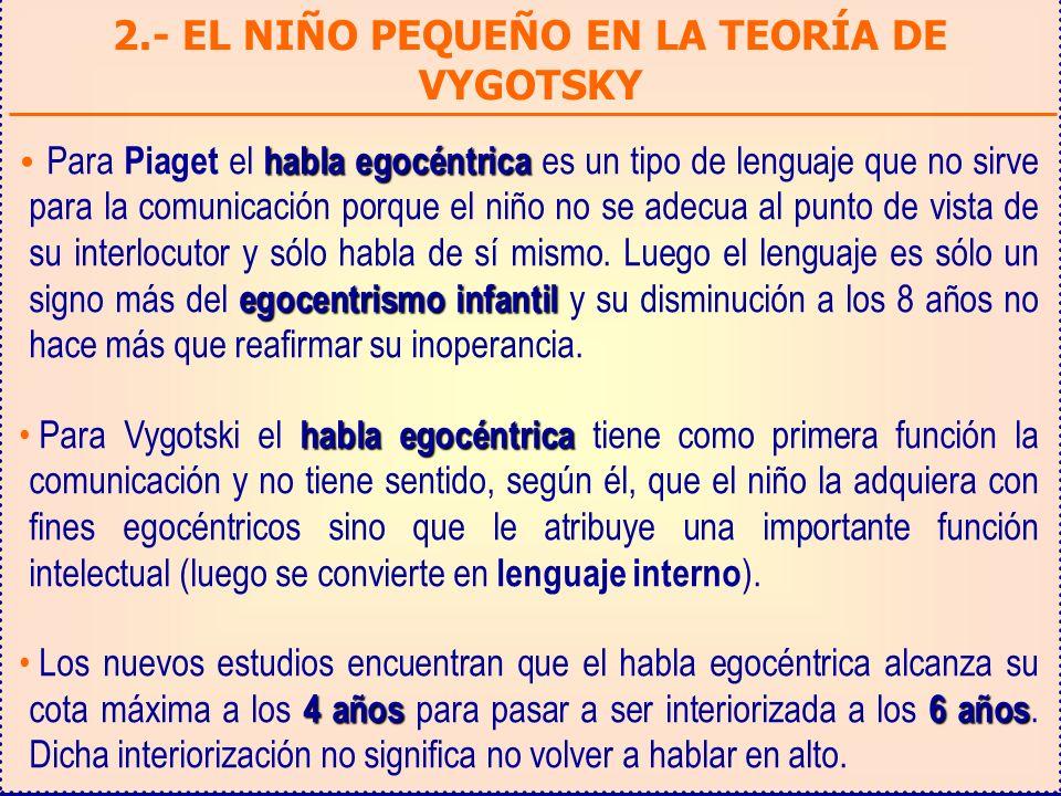 2.- EL NIÑO PEQUEÑO EN LA TEORÍA DE VYGOTSKY habla egocéntrica egocentrismo infantil Para Piaget el habla egocéntrica es un tipo de lenguaje que no si