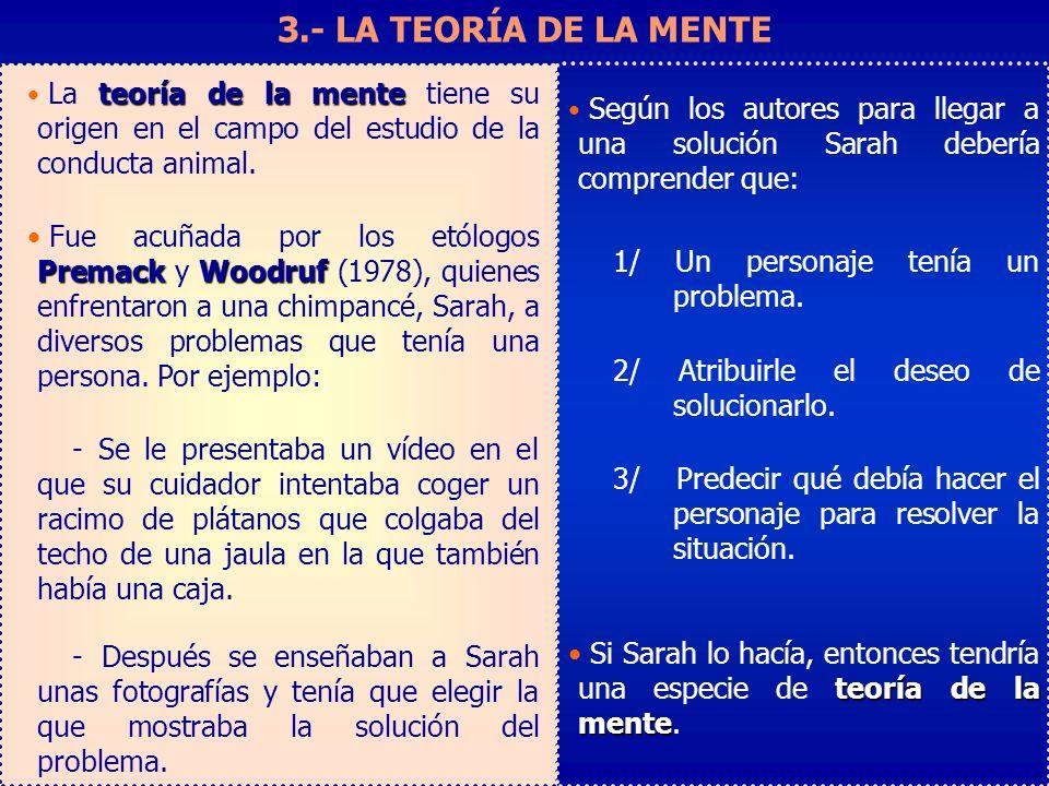 3.- LA TEORÍA DE LA MENTE Según los autores para llegar a una solución Sarah debería comprender que: 1/ Un personaje tenía un problema. 2/ Atribuirle