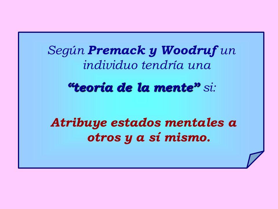 Según Premack y Woodruf un individuo tendría una teoría de la mente teoría de la mente si: Atribuye estados mentales a otros y a sí mismo.