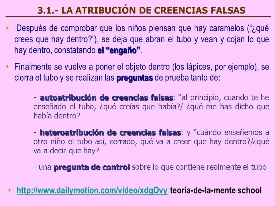 3.1.- LA ATRIBUCIÓN DE CREENCIAS FALSAS D espués de comprobar que los niños piensan que hay caramelos (¿qué crees que hay dentro?), se deja que abran