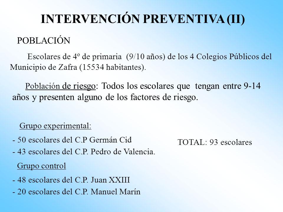 INTERVENCIÓN PREVENTIVA (I) OBJETIVOS Generales. - Mejorar la calidad de vida de los escolares - Impedir la aparición o la progresión de la curva esco