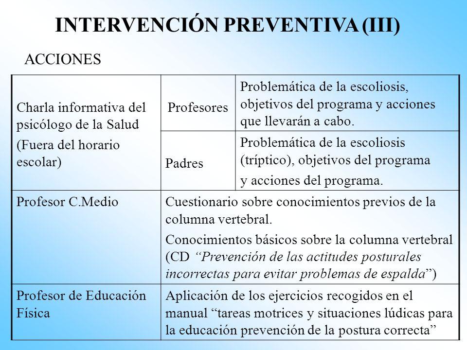 INTERVENCIÓN PREVENTIVA (II) POBLACIÓN Escolares de 4º de primaria (9/10 años) de los 4 Colegios Públicos del Municipio de Zafra (15534 habitantes). G