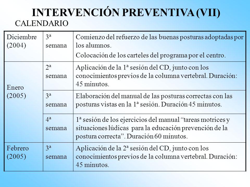 INTERVENCIÓN PREVENTIVA (VI) CALENDARIO Octubre (2004) 1ª semana Charla informativa a profesores. Duración: 2 Horas 2ª semana Envió de cartas a las fa
