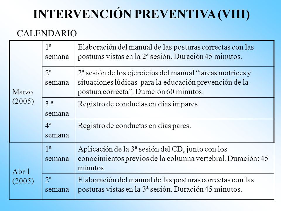 INTERVENCIÓN PREVENTIVA (VII) CALENDARIO Diciembre (2004) 3ª semana Comienzo del refuerzo de las buenas posturas adoptadas por los alumnos. Colocación