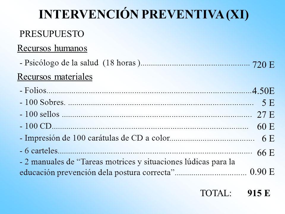 INTERVENCIÓN PREVENTIVA (X) CALENDARIO Junio (2005) 3ª semana Entrega a los alumnos del CD Prevención de las actitudes posturales incorrectas para evi