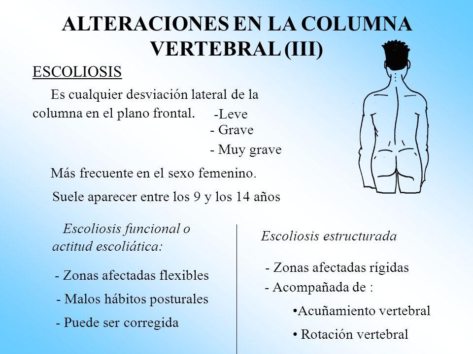 ALTERACIONES EN LA COLUMNA VERTEBRAL (III) ESCOLIOSIS Es cualquier desviación lateral de la columna en el plano frontal.