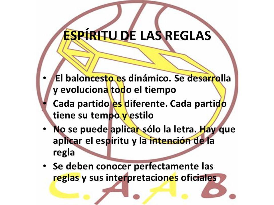 ESPÍRITU DE LAS REGLAS El baloncesto es dinámico. Se desarrolla y evoluciona todo el tiempo Cada partido es diferente. Cada partido tiene su tempo y e