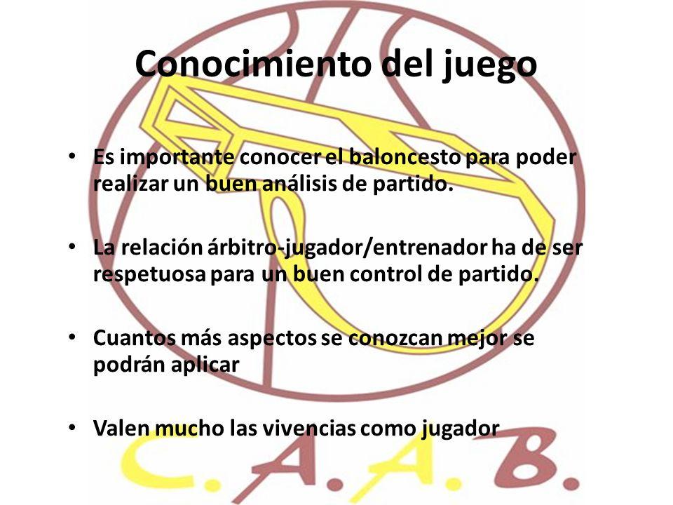 Conocimiento del juego Es importante conocer el baloncesto para poder realizar un buen análisis de partido. La relación árbitro-jugador/entrenador ha