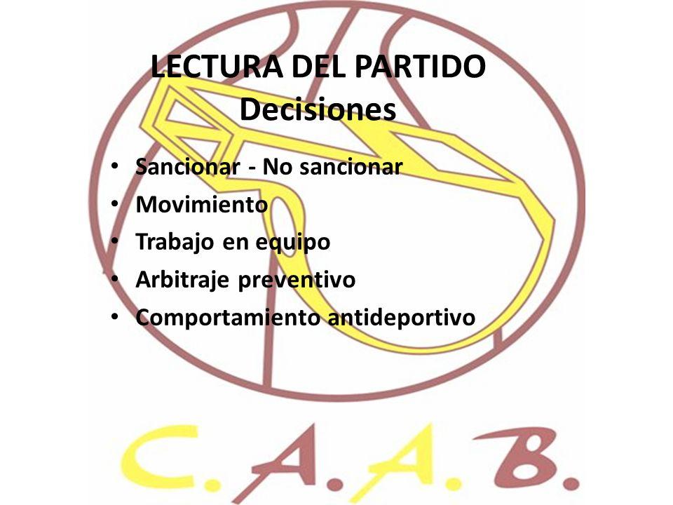 LECTURA DEL PARTIDO Decisiones Sancionar - No sancionar Movimiento Trabajo en equipo Arbitraje preventivo Comportamiento antideportivo