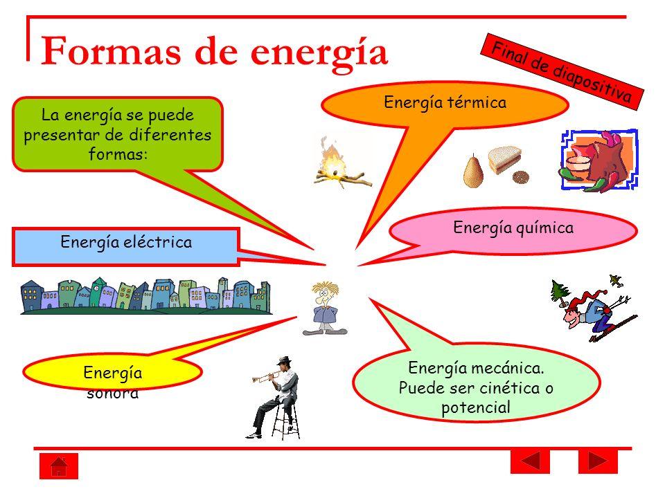 Formas de energía La energía se puede presentar de diferentes formas: Energía térmica Energía eléctrica Final de diapositiva Energía química Energía m