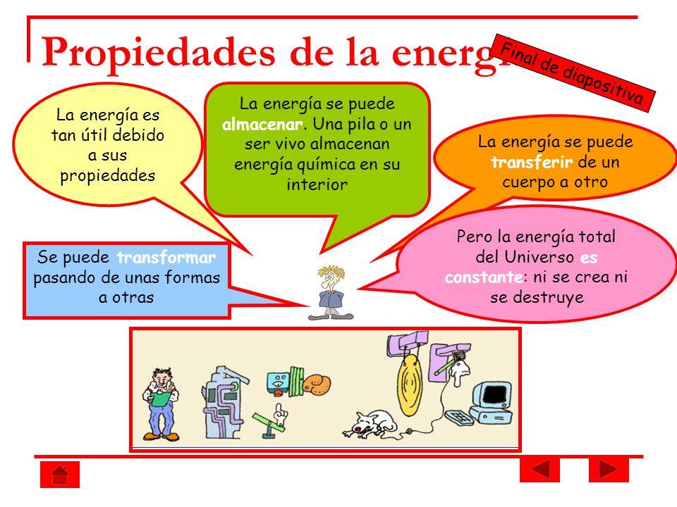 Propiedades de la energía La energía se puede almacenar. Una pila o un ser vivo almacenan energía química en su interior La energía se puede transferi