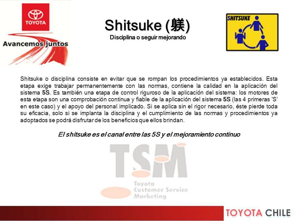 Shitsuke o disciplina consiste en evitar que se rompan los procedimientos ya establecidos. Esta etapa exige trabajar permanentemente con las normas, c