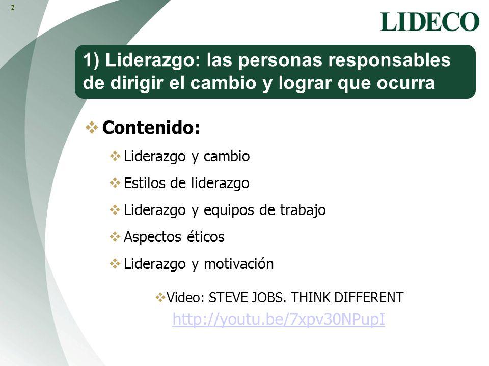 1) Liderazgo: las personas responsables de dirigir el cambio y lograr que ocurra Contenido: Liderazgo y cambio Estilos de liderazgo Liderazgo y equipo