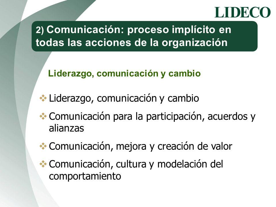 2) Comunicación: proceso implícito en todas las acciones de la organización Liderazgo, comunicación y cambio Comunicación para la participación, acuer
