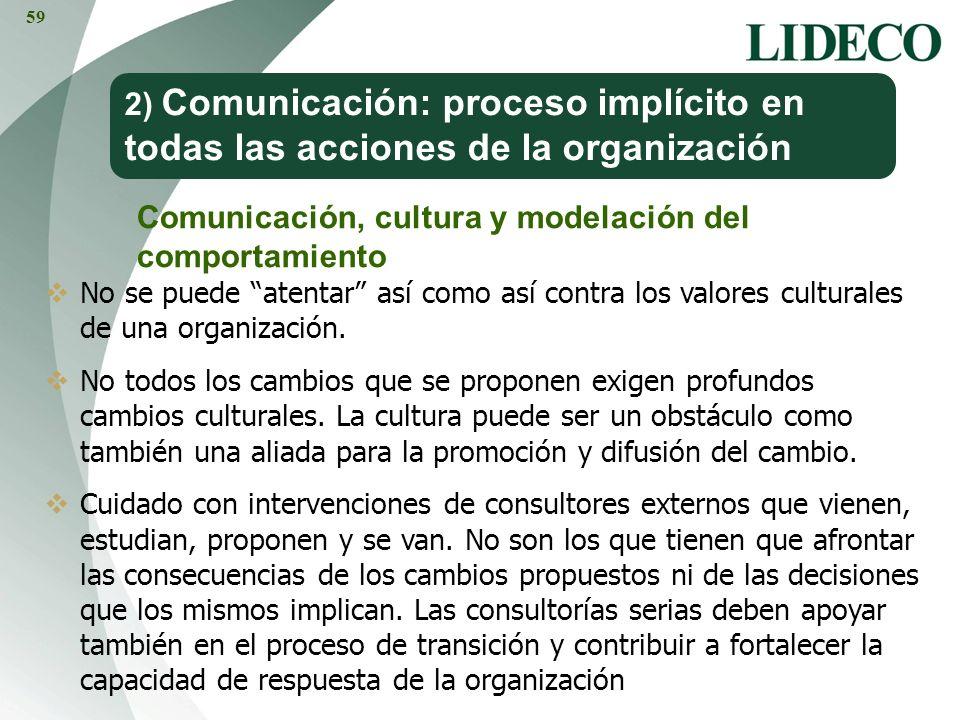 2) Comunicación: proceso implícito en todas las acciones de la organización Comunicación, cultura y modelación del comportamiento No se puede atentar