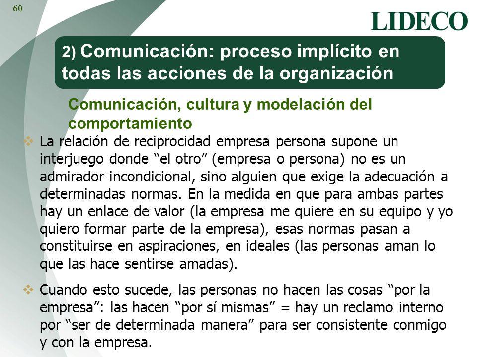 2) Comunicación: proceso implícito en todas las acciones de la organización Comunicación, cultura y modelación del comportamiento La relación de recip