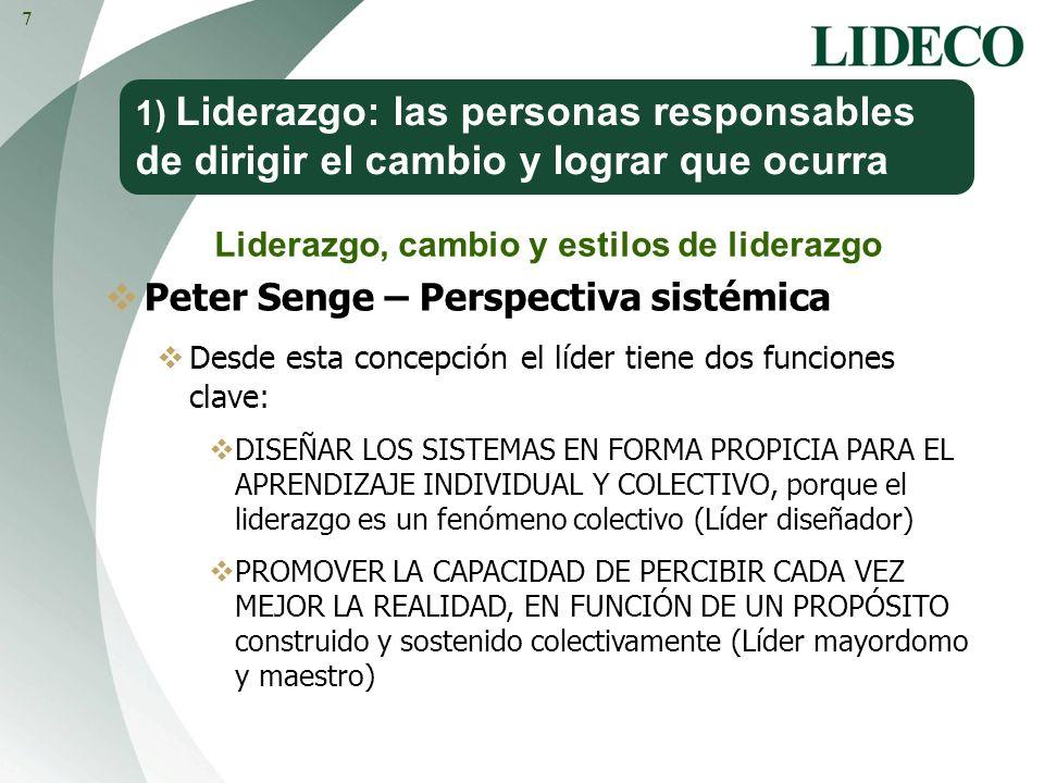 1) Liderazgo: las personas responsables de dirigir el cambio y lograr que ocurra Peter Senge – Perspectiva sistémica Desde esta concepción el líder ti