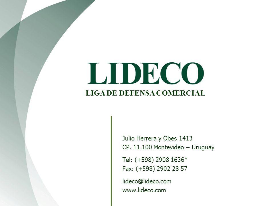 Julio Herrera y Obes 1413 CP. 11.100 Montevideo – Uruguay Tel: (+598) 2908 1636* Fax: (+598) 2902 28 57 lideco@lideco.com www.lideco.com LIGA DE DEFEN