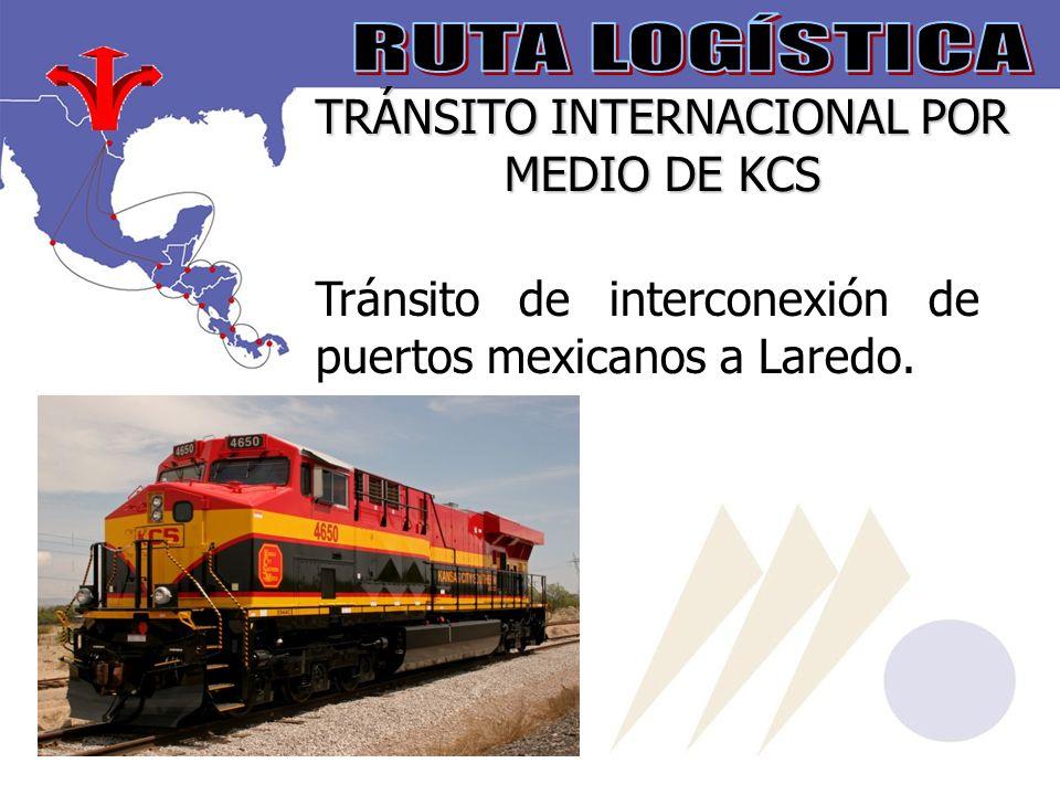 TRÁNSITO INTERNACIONAL POR MEDIO DE KCS Tránsito de interconexión de puertos mexicanos a Laredo.