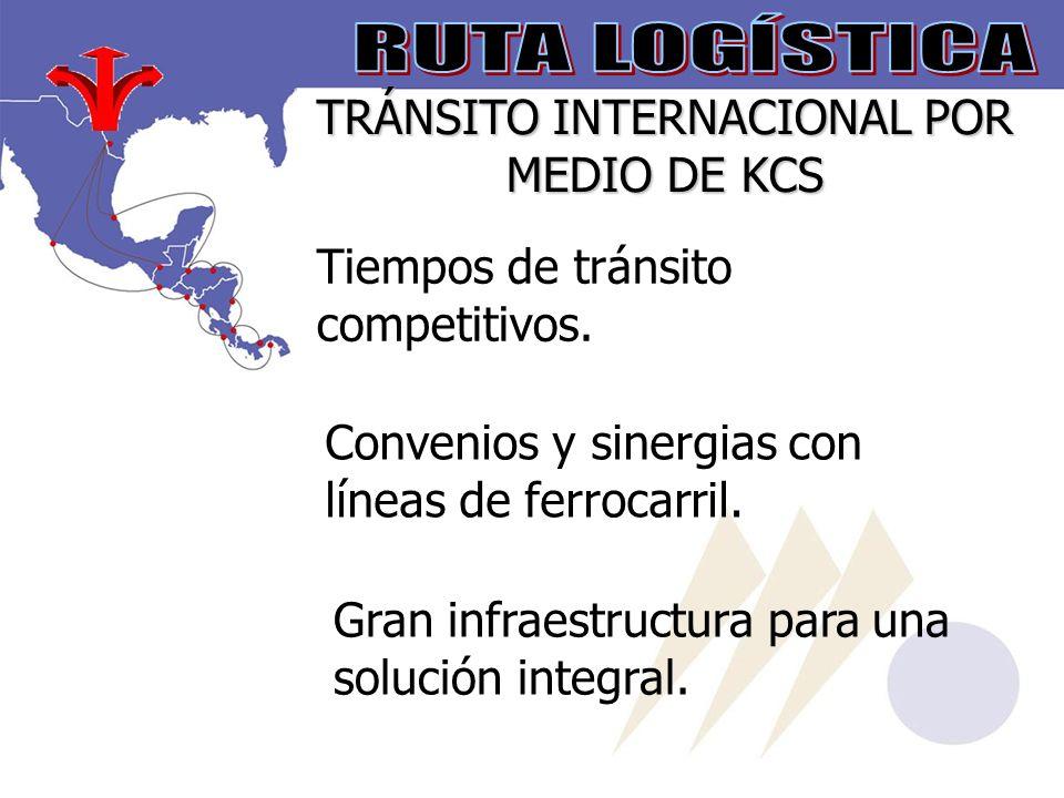 TRÁNSITO INTERNACIONAL POR MEDIO DE KCS Tiempos de tránsito competitivos.