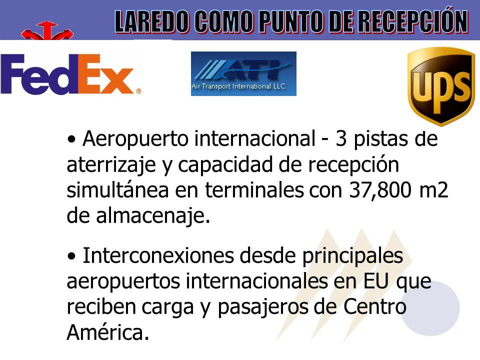 Aeropuerto internacional - 3 pistas de aterrizaje y capacidad de recepción simultánea en terminales con 37,800 m2 de almacenaje.