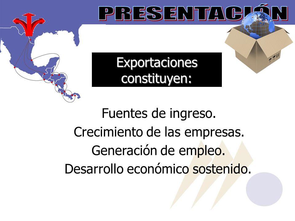 Exportaciones constituyen: Fuentes de ingreso.Crecimiento de las empresas.