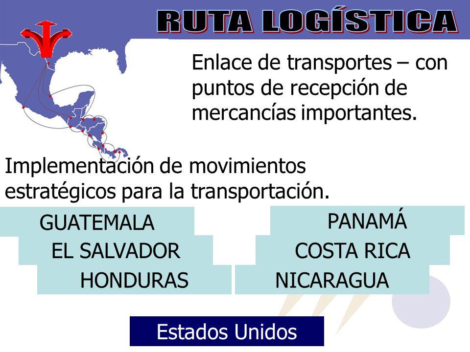 Enlace de transportes – con puntos de recepción de mercancías importantes.