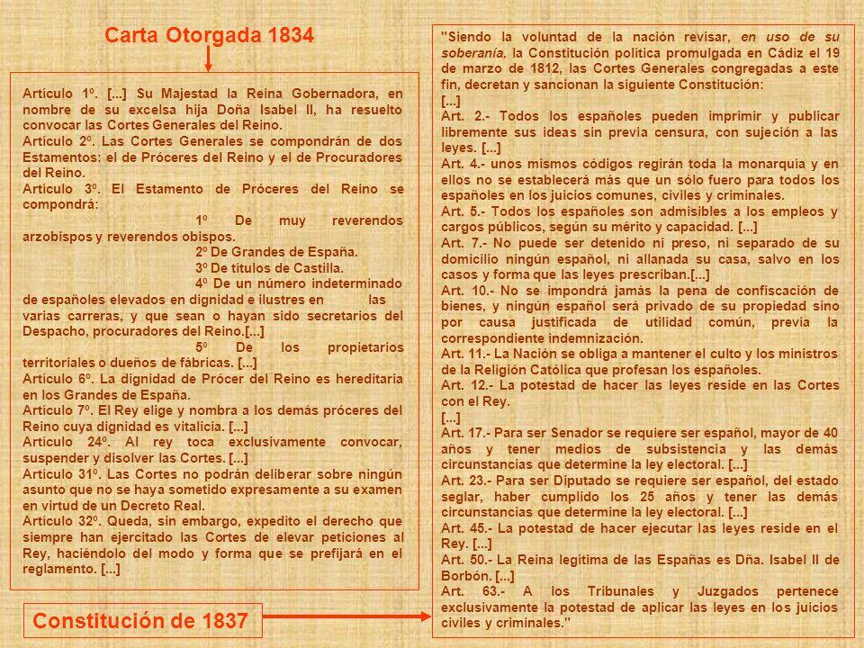 Siendo la voluntad de la nación revisar, en uso de su soberanía, la Constitución política promulgada en Cádiz el 19 de marzo de 1812, las Cortes Generales congregadas a este fin, decretan y sancionan la siguiente Constitución: [...] Art.