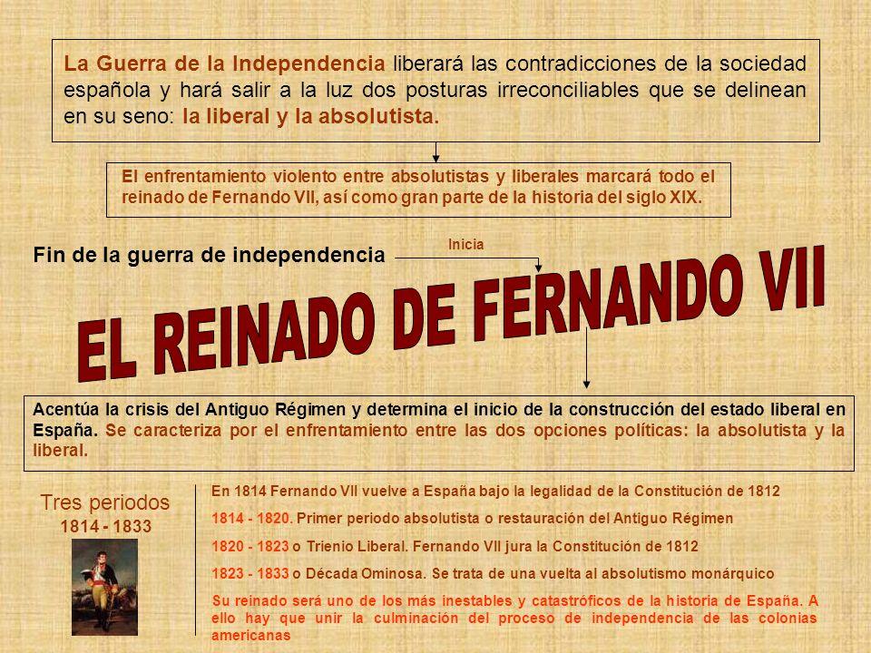 La Guerra de la Independencia liberará las contradicciones de la sociedad española y hará salir a la luz dos posturas irreconciliables que se delinean