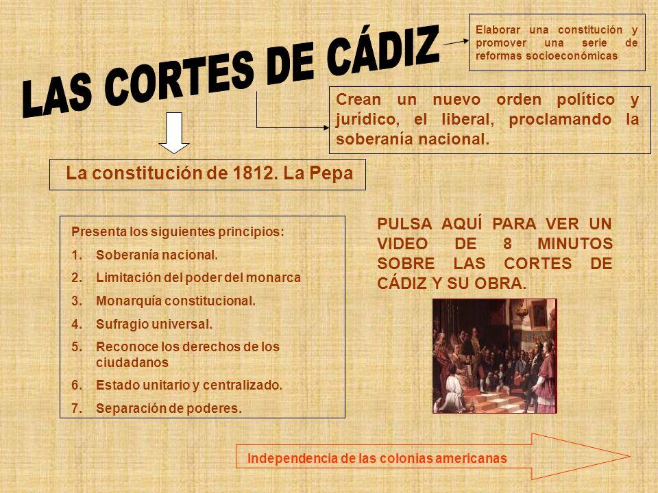La constitución de 1812. La Pepa Crean un nuevo orden político y jurídico, el liberal, proclamando la soberanía nacional. Elaborar una constitución y